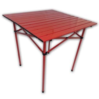 Red Aluminum Portable Table On The Bag