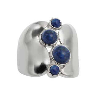Sterling Silver 2.12ct Round Lapis Wide Band Ring - N/A