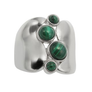 Sterling Silver 2.96ct Round Malachite Wide Band Ring