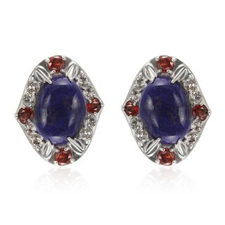 Sterling Silver 1-inch 18x13mm Lapis, White Topaz and Garnet Earrings