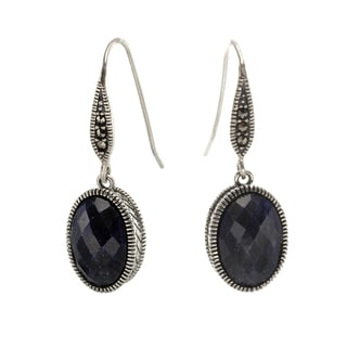 Sterling Silver Dyed Blue Corundum and Marcasite Earrings