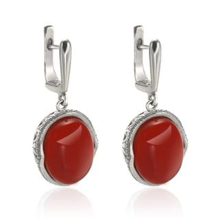 Sterling Silver 1.25-inch 16x12mm Oval Carnelian Drop Earrings