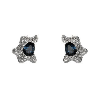 Sterling Silver Blue Crystal Ribbon Stud Earrings