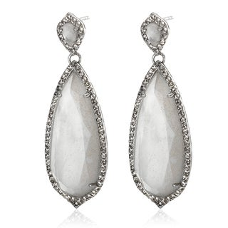 Sterling Silver 1.75-inch Milky Quartz and White Topaz Drop Earrings