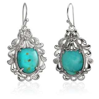 Sterling Silver 1.5-inch 16x12mm Turquoise Scroll Earrings