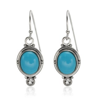 Sterling Silver 11x9mm Sleeping Beauty Turquoise and Zircon Earrings