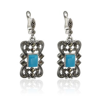 Sterling Silver 1.5-inch 8x6mm Sleeping Beauty Turquoise and Marcasite Openwork Earrings
