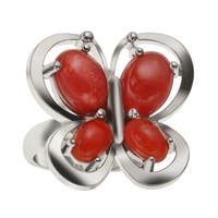 Sterling Silver 1.88ct Coral Butterfly Ring - N/A