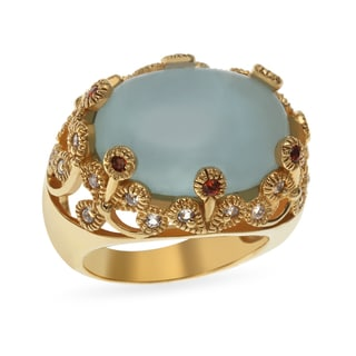 Sterling Silver 11.03ct 14k Yellow Vermeil 18x13mm Milky Aquamarine, White Topaz and Garnet Ring