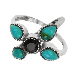 Sterling Silver 1.14ct Turquoise and Black Spinel Split Shank Ring