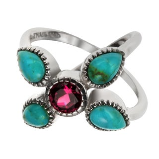 Sterling Silver 2.12ct Turquoise and Garnet Split Shank Ring