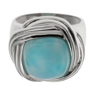 Sterling Silver 6.56ct 12mm Cushion Shaped Larimar Twisted Halo Ring