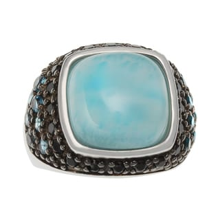 Sterling Silver 7.33ct Larimar, London Blue Topaz and Black Spinel Ring