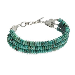 Sterling Silver Turquoise Three Strand Toggle Bracelet
