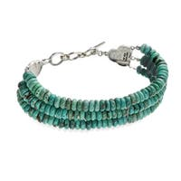 Sterling Silver Turquoise Three Strand Toggle Bracelet  - Blue