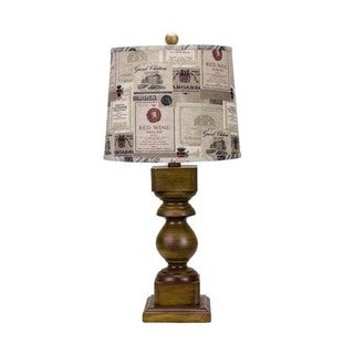 Somette Mayville Pecan Wood Stain Table Lamp