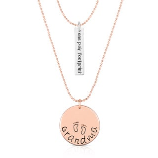 Collette Z Gold Overlay Dual Grandma Pendant and Bar Necklace
