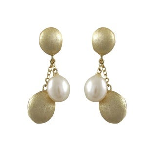 Luxiro Brushed Gold Finish Freshwater Pearl Oval Dangle Earrings