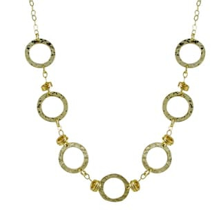 Luxiro Two-tone Hammered Gold Finish Circle Station Necklace