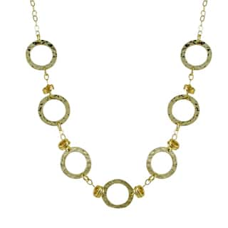 Luxiro Two-tone Hammered Gold Finish Circle Station Necklace|https://ak1.ostkcdn.com/images/products/10940442/P17968364.jpg?impolicy=medium