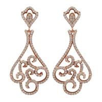 Luxiro Rose Gold Finish Sterling Silver Cubic Zirconia Filigree Dangle Earrings