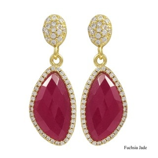 Gold Finish Sterling Silver Semi-precious Gemstone Dangle Earrings