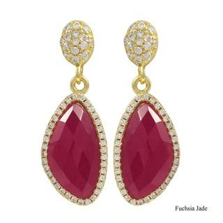 Gold Finish Sterling Silver Semi-precious Gemstone Dangle Earrings|https://ak1.ostkcdn.com/images/products/10940447/P17968369.jpg?impolicy=medium
