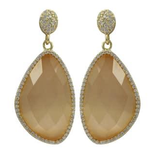 Luxiro Sterling Silver Gold Finish Semi-precious Gemstone Dangle Earrings|https://ak1.ostkcdn.com/images/products/10940448/P17968370.jpg?impolicy=medium