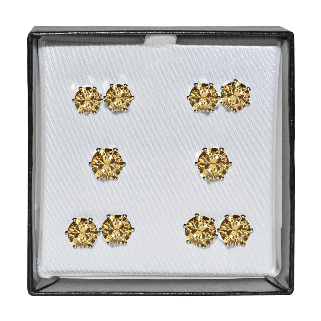 Surgical Steel and Silvertone Amber Cubic Zirconia Stud 5...