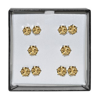 Surgical Steel and Silvertone Amber Cubic Zirconia Stud 5-pair Earring Set