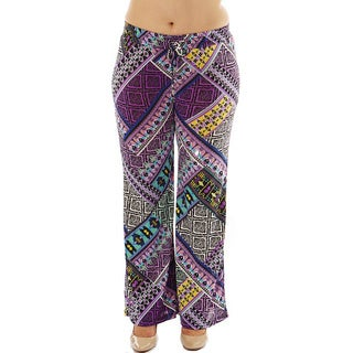 Women's Plus Mix Media Print Drawstring Waist Palazzo Pants