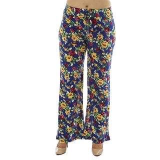 Women's Plus Size Floral Print Drawstring Waist Palazzo Pants (3 options available)