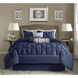 Madison Park Hacienda Navy Pintuck Comforter Set