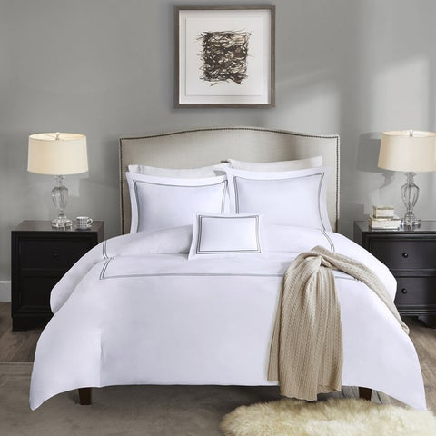 Madison Park Signature 1000 Thread Count Embroidered Cotton Sateen 5 Piece Comforter Set-4 Color Option