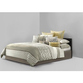N Natori Fretwork Multi-cotton Comforter with Euro Shams and Dec Pillows