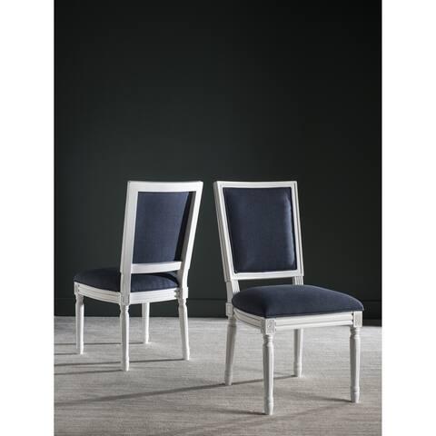 "SAFAVIEH Dining Old World Buchanan Navy Rectangular Dining Chairs (Set of 2) - 19"" x 19"" x 38.3"""