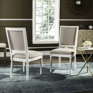Safavieh Old World Dining Buchanan Taupe Linen Side Chairs (Set of 2)