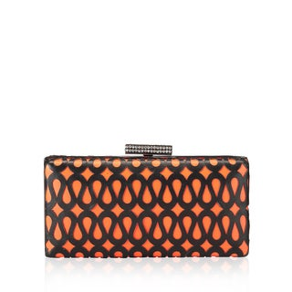 Jasbir Gill Leather Orange/ Black Clutch