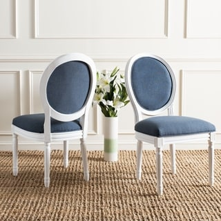 Safavieh Old World Dining Holloway Navy Oval Side Chairs (Set of 2)