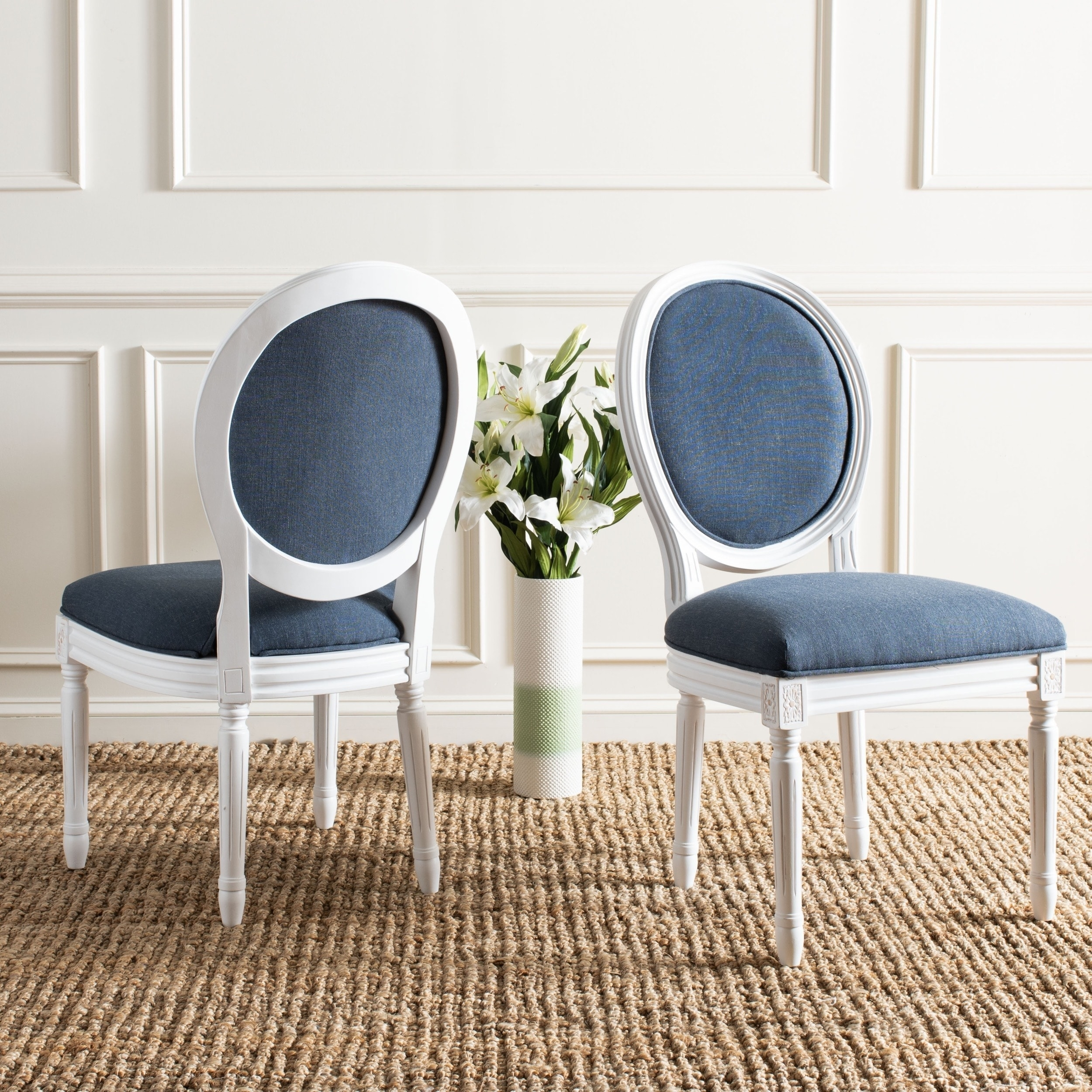 Safavieh Dining Old World Holloway Navy Oval Chairs Set Of 2