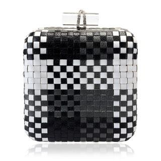 Jasbir Gill Black/ White Weave Leather Clutch