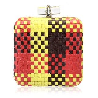 Jasbir Gill Multicolor Weave Leather Clutch