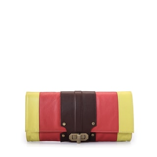 Jasbir Gill Orange/ Brown/ Yellow Leather Clutch