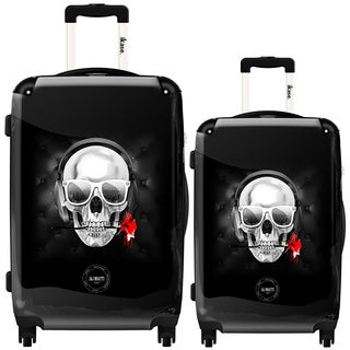 iKase Rose Skull Two-piece Hardside Spinner Luggage Set