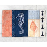 Navy and Coral Coastal Patchwork Accent Rug