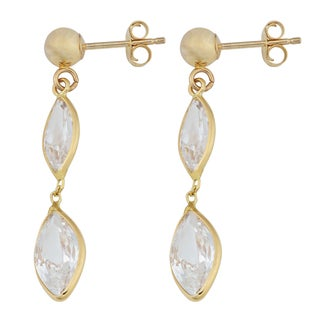 Fremada 14k Yellow Gold Marquise-shaped Clear Cubic Zirconia Drop Post Earrings