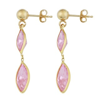 Fremada 14k Yellow Gold Marquise-shaped Pink Cubic Zirconia Drop Post Earrings