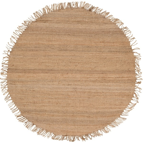 Hand-woven Natural Fiber Jute Rug (6u0026#39; Round) - Free Shipping Today - Overstock.com - 1011802