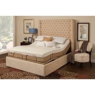 Sleep Zone Malibu 12 Inch Queen Size Memory Foam And Latex Adjustable Mattress  Set