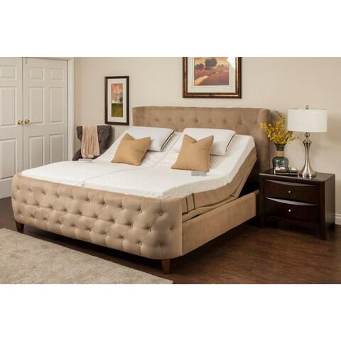 Sleep Zone Malibu 12-inch Split King Memory Foam and Latex Adjustable Mattress Set